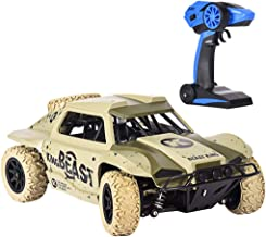 RC Cars for Kids, 1/18 2.4G 4WD Short Course Truck, 15.5 MPH + Desert Off-Road Car with Spare Tire RTR, Remote Control Truck by Fulijie (Yellow)