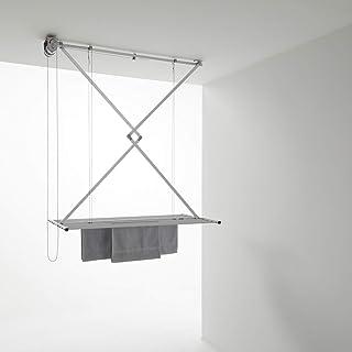 foxydry Mini Étendoir de Plafond, séchoir Vertical Repliable en Aluminium et Acier (Gris, 150)