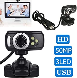 Anonyme HD Webcam with Mic Night Vision Megapixel Web Cam with Clip Holder for Computer PC Laptop Desktop Black
