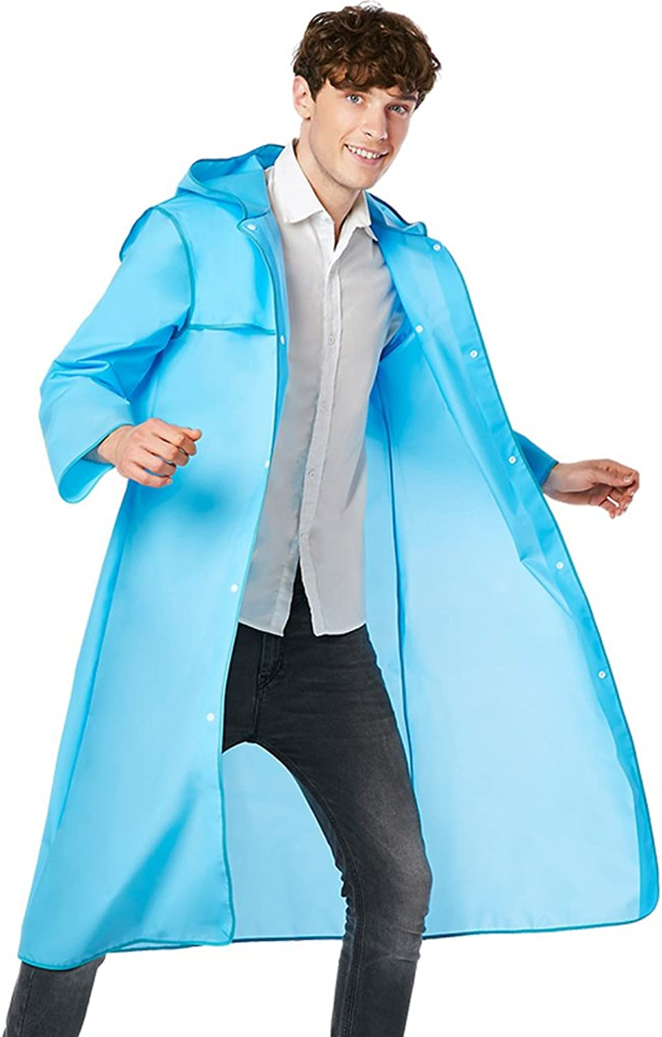 color Edging Raincoat Outdoor Travel Mountaineering Poncho Men and Women (color   blueee, Size   XXL)