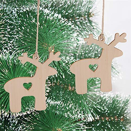 Ouneed- 10PCS Noel Decoration Suspendu en Bois Flocons de Neige Banniere Bonhomme de Neige Noël Embellissement en Bois a suspendreavec Fil de Jute pour Sapin de Noël (B)