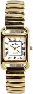 ساعة بيجو مستطيلة للنساء 14 قيراط مطلية بالذهب - تانك الشكل سهل القراءة مع سوار توسيع مرن