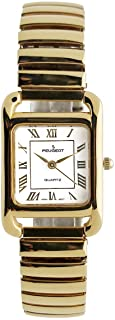Peugeot Women Rectangular 14KT Gold Plated Watch - Tank Shape Easy Reader with Flexible Expansion Bracelet