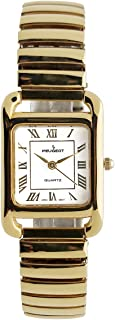 Peugeot Women Rectangular 14KT Gold Plated Watch - Tank Shape Easy Reader with Flexible Expansion Bracelet
