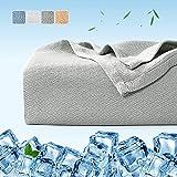 Luxear Bambusfaser Kühldecke, 150 x 200cm Kuscheldecke Selbstkühlend Arc-Chill Sommerdecke mit Q-Max 0,34 Kühlfasern aus 100prozent natürliche Bambus Tagesdecke Weiche Wohndecke Sofadecke Babydecke- Grau