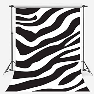 Zebra Pattern Backdrop for Photography, 5x7ft Soft Cotton No Wrinkle, Zebra Skin Print Black White Background, Stylish Makeup Party Photo Booth Props LYFS1200