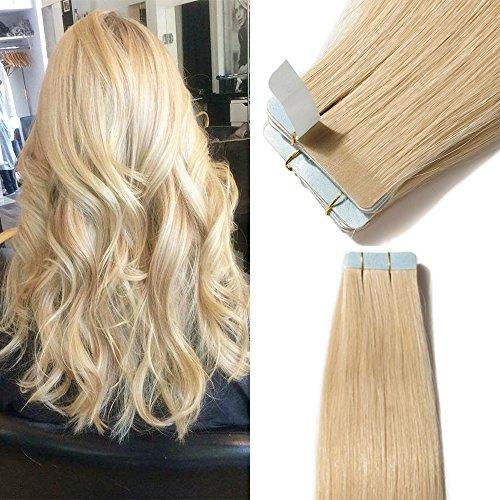 Elailite Extension Capelli Veri Biadesivo 40 Ciocche Adesive 100g Tape Biadesive Hair Extensions Remy Human Hair Naturali (40cm #613 Biondo Chiarissimo)