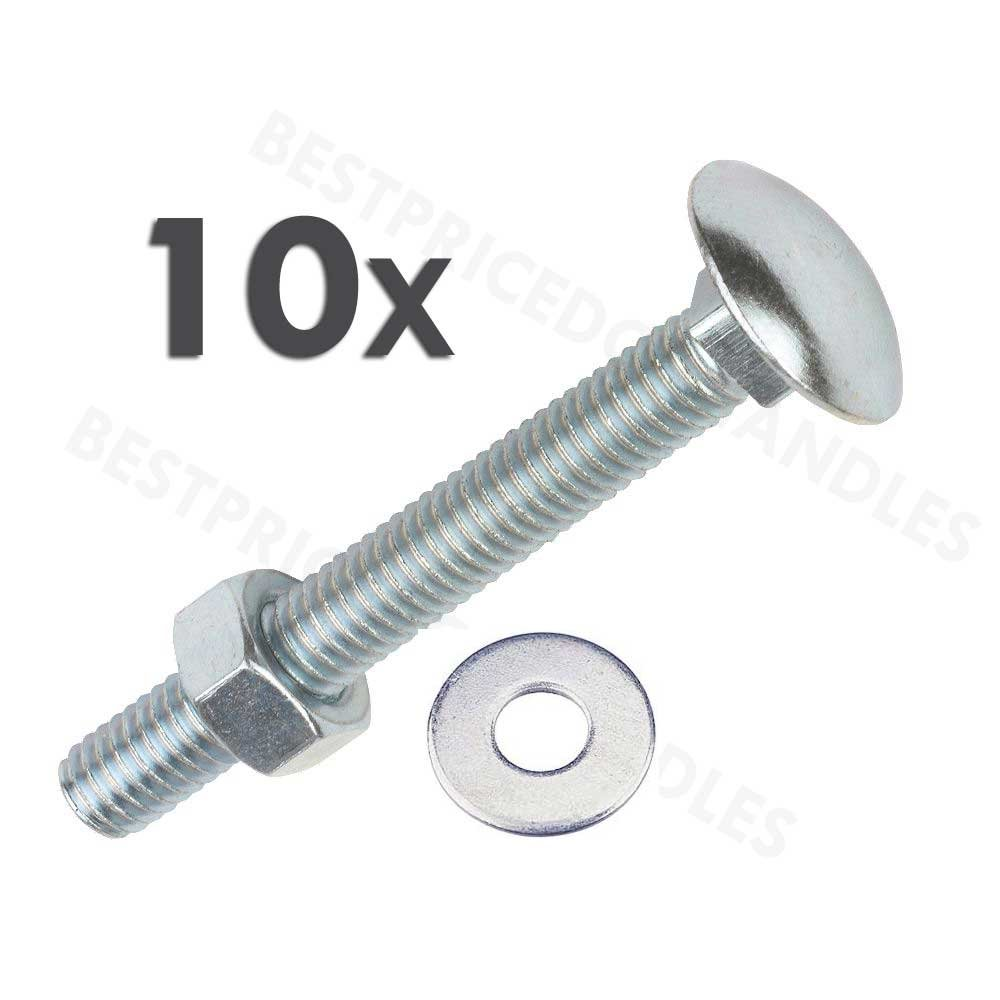 5//16 inch x 4 inch - Zinc Plated Merriway BH04832 Bulk Hardware Carriage Bolts with Nuts Pack of 10 M8 x 100mm