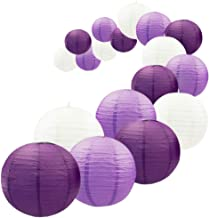 UNIQOOO 18Pcs Royal Purple Paper Lantern Set,5 Size Mix,Reusable Hanging Decorative Japanese Chinese Lantern Lamps,Easy Assembly,for Birthday Wedding Baby Shower Christmas Party Decor Supplies Kit
