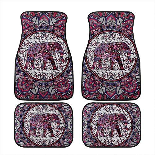 JoyLamoria Lotus Boho Hippie Elephant Printed Automotive Carpet Floor Mats for Cars Sedans SUV Vans Truck Universal Fit Water Dirt Absorption All Weather Protection