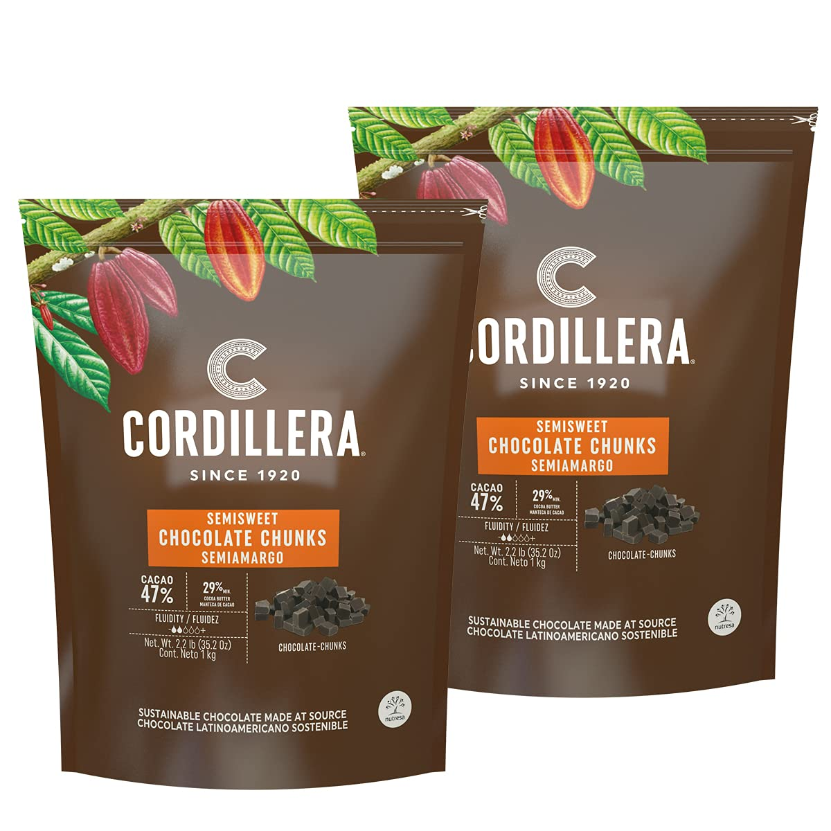 Cordillera | Semisweet Chocolate Chunks 47% | 2.2 Lb (Pack of 2)