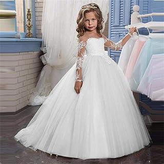 Vestido de baile de las niñas, Apliques de encaje bordados para niños Princesa Boda Dama de honor Longitud del piso En cap...