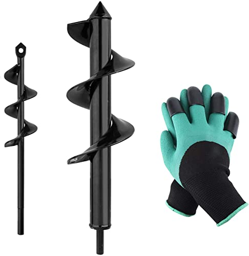 """discount Garden 2021 Auger Drill Bit Set, Baowox 2 Pcs 12"""" and 9"""" Inch Garden Rapid Planter with Garden Genie Gloves for online Planter Tree Hand Cordless Drill Soil Posthole Digging Holes outlet online sale"""