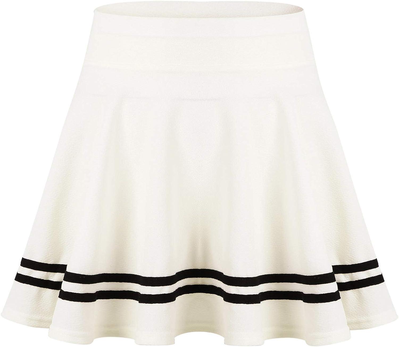 Freebily Women's Basic Versatile Stretchy Flared Casual Mini Skater Skirt Striped Hemline A-Line Miniskirts