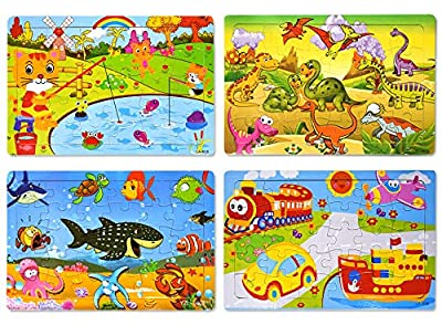 Wooden Jigsaw Puzzles Set for Kids Age 2-6 Year Old 30 Piece Colorful Wooden Puzzles for Toddler Children Learning Educational Puzzles Toys for Boys and Girls (4 Puzzles)