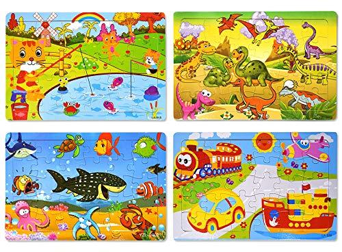 HUADADA Kinderpuzzle Puzzle Teile für Kinder ,Hölzernes Puzzle-Spielzeugset, Puzzles ab 2-6 Jahren Bestes Lernspielzeug Spiel für Junge, 30 farbige Holzpuzzleteile,(4 Puzzles)