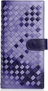 LDUNDUN-BAG, 2019 Sheepskin Hand-Woven Clutch Clutch Leather Long Wallet Fashion Card Bag Women's Wallet (Color : Purple, Size : S)