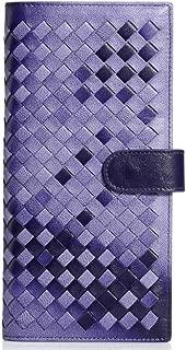 Leather Women's Wallet Sheepskin Hand-Woven Clutch Clutch Leather Long Wallet Fashion Card Wallet Waterproof (Color : Purple, Size : S)