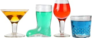 Lily's Home Mini Cocktail Glasses Shot Glasses, Novelty Designs Make this Set the Ideal Gift of Any Bartender (Set of 4)
