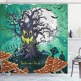 DAOJIA 48X72inch Cortina de Ducha de Halloween Truco o Trato Bosque Muerto con Spooky Tree Graves Big Kids Cartoon Art Print Tela Tela Baño Decoración Set con Ganchos Pale Seafoam