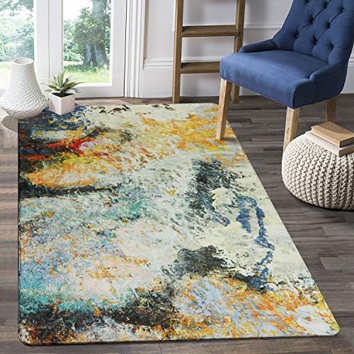 LEEVAN Faux Wool Area Rug 4' x 6' Traditional Rectangle Throw Runner Rug Non-Slip Backing Soft Wool Floor Carpet for Sofa Living Room Bedroom Modern Accent Home Decor