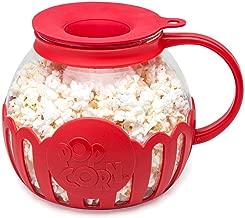 Ecolution EKPRE-4230 Original Microwave Micro-Pop Popcorn Popper Borosilicate Glass, 3-in-1 Silicone Lid, Dishwasher Safe, BPA Free, 3 Qt - Family Size, Red