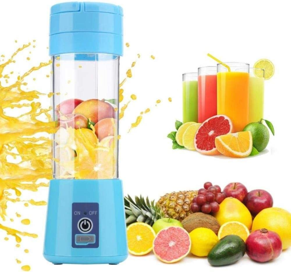 XUYI Mini exprimidor de Frutas eléctrico Recargable portátil Botella batidora de Frutas procesadores de Alimentos manuales, púrpura Blue