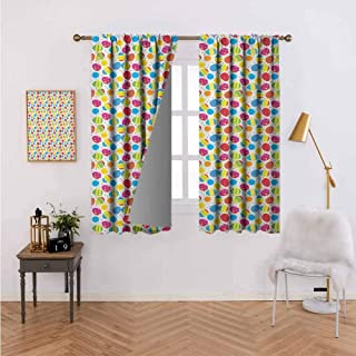Window Curtain Cartoon Style Baby Chicken and Colorful Eggs with Little Daisy Blossoms and Zigzag Multicolor for Home Decoration 63