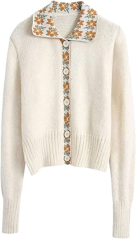 AAKKY Women Fashion and Patchwork Knitted Sweater Sweater Vintage Long Sleeve Button Female Jacket (Color : White, Size : M Code)