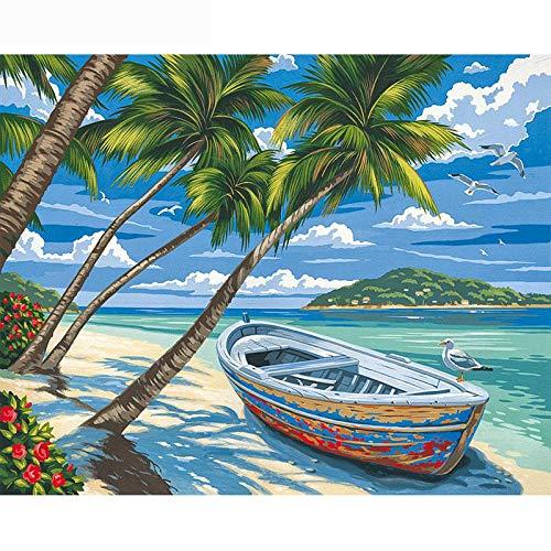 LIVEQL Regalo de cumpleaños Puzzle 3D Madera Rompecabezas 500 tabletas Adultos Juego Juguete Puzzles/Barco en la playa-500 Piezas