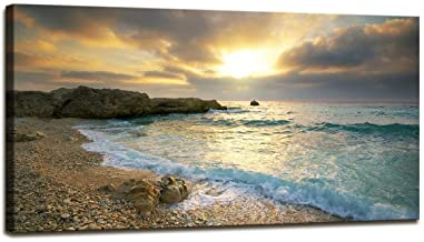Canvas Wall Art Sunset Beach Blue Waves Ocean Art Large Ocean Decor Wall Decor for Bedroom Modern Artwork Canvas Prints Contemporary Pictures Framed Ready to Hang for Home Decoration