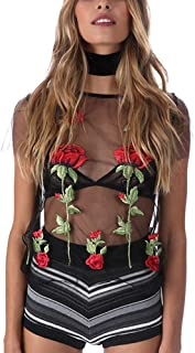 C.C-US Women Rose Embroidery Crop Top T-Shirt Sexy See Through Blouse Short Sleeve Tops