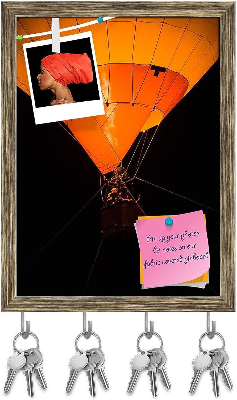 Artzfolio Air Balloon Key Holder Hooks   Notice Pin Board   Antique golden Frame 12 X 16.1Inch