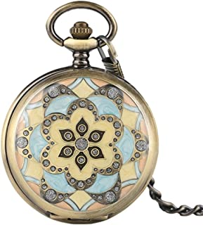YXZQ Pocket Watch, Mechanical Pocket Watches Crystal Pendant for Women Lady Girls Gifts Hand Winding Nurse Watch Pretty Flower Case with Chain