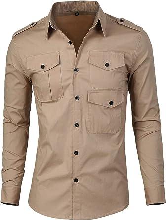 uxcell Camisa para Hombre Elegante diseño Hombrera Botón-Lengueta Ajustado - Caqui/M (US 38), M (EU 48)
