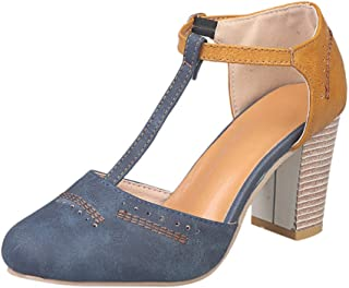 Susanny Heeled Sandals for Women T-Strap Buckle Mary Jane Pumps Vintage Oxford Shoes Summer Classic Fashion Sandal Blue 6 B (M) US