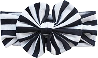 Mufeng Newborn Infant Girls Big Striped Cotton Bowknot Headband Classic Knot Headwrap Super Soft Stretchy Hair Accessories