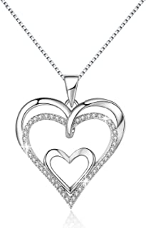 MORANY Heart Necklace Sterling Silver Forever Love Open Pendant Womens Jewelry, 20 inch