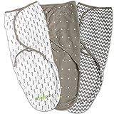 Swaddle Blanket, Adjustable Infant Baby Wrap Set 3 Pack Soft Cotton in Grey