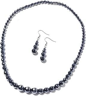 Black Hematite Beads Dangle Drop Earrings Matinee Necklace Jewelry Set for Women 20