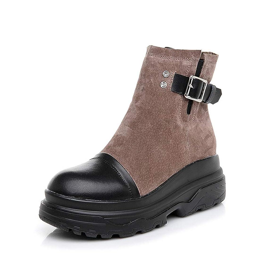 スノーケル動脈正確な[モリケイ] ブーツ ショートブーツ インヒール レディース ボア付き サイドジップ 厚底 レザー スエード ショートブーツ ブーツ 小さいサイズ 2018