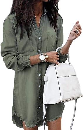 Vestido Mujer Casual Vaquero Mini Split Dobladillo Manga Larga Camisa Vestidos con Bolsillo