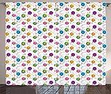 ABAKUHAUS Geburtstag Rustikaler Gardine, Ballon-Konfetti-Sterne, Schlafzimmer Kräuselband Vorhang mit Schlaufen und Haken, 280 x 175 cm, Mehrfarbig