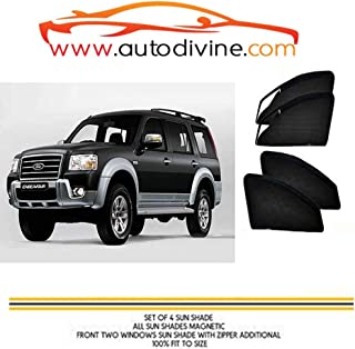 Autodivine Side Window Zipper Magnetic Sun Shade for Ford Endeavour Old (Set of 6)