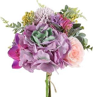 comprar comparacion HUAESIN Ramo Novia Flores Artificiales Decoracion Purpura con Rosa Hortensia y Hoja de Eucalipto Bouquet Flores Artificial...