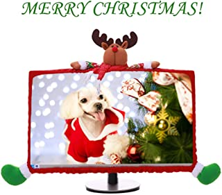 MOSTOP Computer Decoration Cover Christmas Computer Decoration Case Three Dimensional Cartoon Computer Monitor Border Cover (Deer)