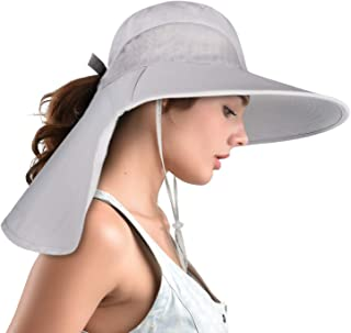 Safari Sun Hats for Women Wide Brim Fishing Hat with Large Neck Flap Ponytail Sun Protection UPF Summer Cooling Bucket hat Packable Sunhat for Hunting Hiking Camping