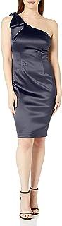 Eliza J womens One Shoulder Sleeveless Sheath Dress With Bow Dress