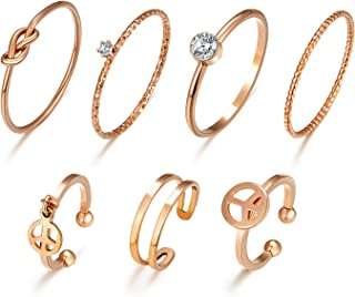 Multiple 7PCS Rings Set Stackable Midi Kunckle Anti-tarnished Real Gold Plated Minimalist Simple Thin Cute Dainty Rings Pa...