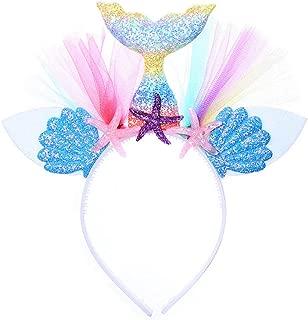 Mermaid Headband - Child + Adult Mermaid Tail Headband for Halloween Costume Birthday Party Decoration Girl (Rainbow)